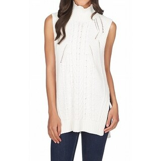 1. State NEW White Ivory Womens Size Medium M Mock-Neck Vest Sweater