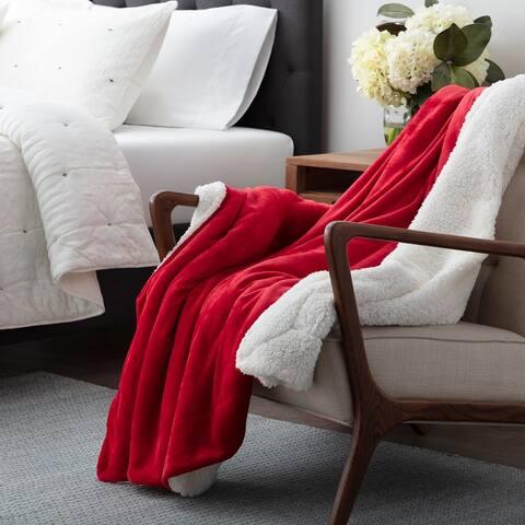 Brookside Reversible Fleece and Sherpa Blanket