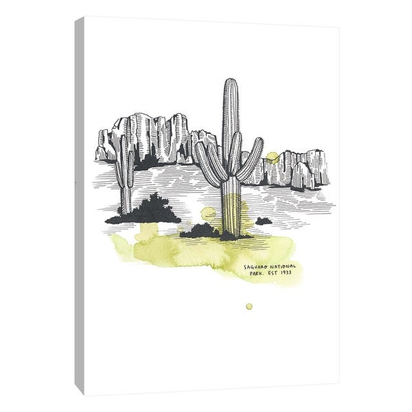 """PTM Images 9-105647 PTM Canvas Collection 10"""" x 8"""" - """"Nation Park Saguaro"""" Giclee Abstract Art Print on Canvas"""