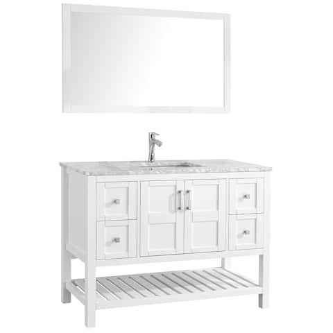 "Sophia 48"" Single Sink Bathroom Vanity Set, White"