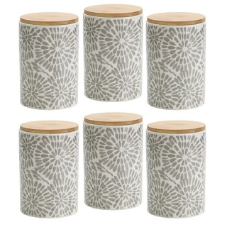 Link to Pfaltzgraff Gray Floral 6.5IN Padprint Canister with Bamboo Lid Similar Items in Kitchen Storage