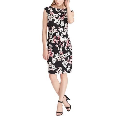American Living Womens Floral Sheath Dress, black, 6