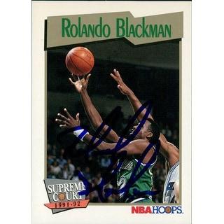 Signed Blackman Rolando Dallas Mavericks 1991 NBA Hoops Basketball Card autographed