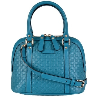 Gucci 449654 Micro GG Cobalt Blue Leather Convertible Mini Dome Purse