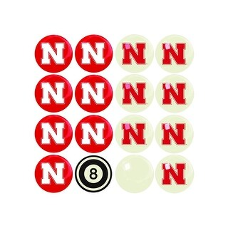 NCAA Nebraska Billiard Balls Complete Set of 16 Balls - White