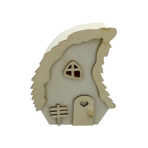 Cal385 spc wood statuette house w wave roof 4 natural
