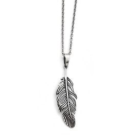 Chisel Stainless Steel Antiqued Feather Necklace (1 mm) - 18 in