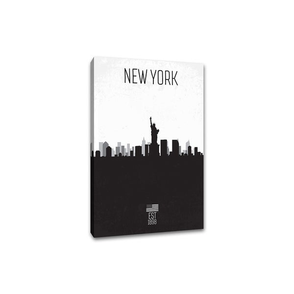 New York - Distressed Skyline Art - 24x36 Gallery Wrapped Canvas Wall Art B&W