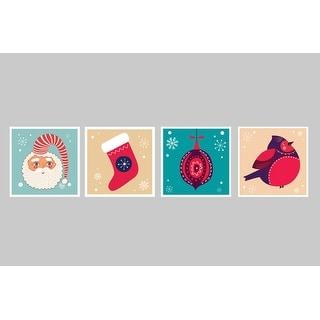 Festives Decorations Set 1 - Christmas Posters - 9x9 Matte Poster Print