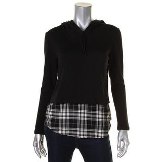 Generation Love Womens Casual Top Hooded Plaid