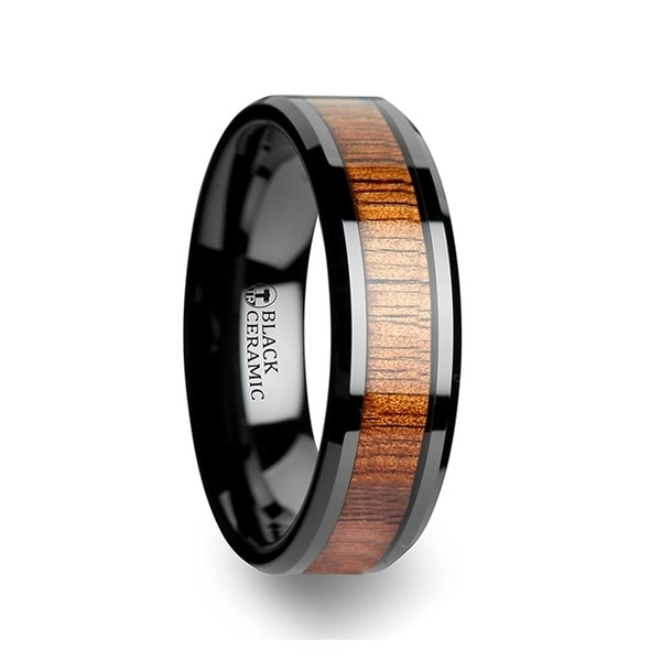 THORSTEN - ACACIA Koa Wood Inlaid Black Ceramic Ring with Bevels - 6mm