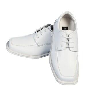 Angels Garment Big Boys White Lace Faux Leather Dress Shoes 4-7 Kids - 4