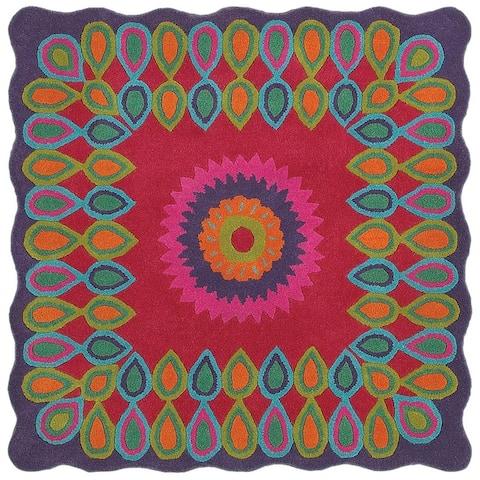 LR Home Vibrance Bursting Wool Area Rug