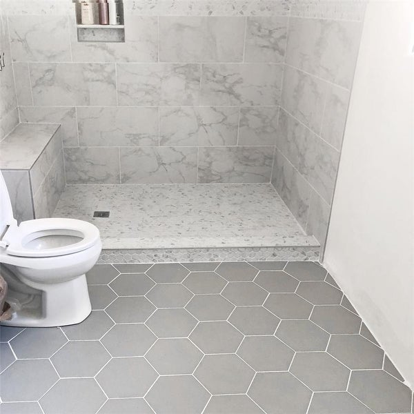 SomerTile 8.625x9.875-inch Textilis Silver Hex Porcelain Floor and Wall Tile (25 tiles/11.56 sqft.). Opens flyout.