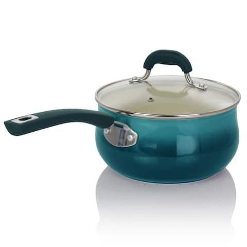Oster Corbett 3.1 Quart Nonstick Aluminum Saucepan in Blue