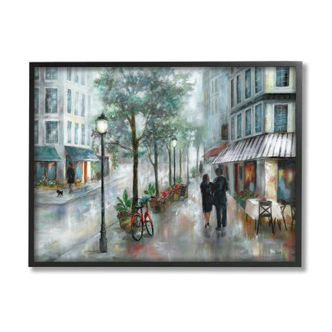 Stupell Industries Couple Walking Through Traditional Rainy City Architecture Framed Wall Art