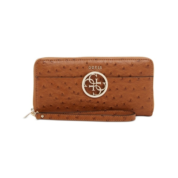 Guess Womens Devyn Wristlet Wallet Faux Ostrich Stamped - o/s