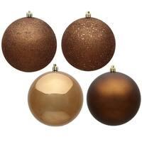 Mocha 4 Finish Assorted Drilled Ball Ornament, 10 in. - 4 per