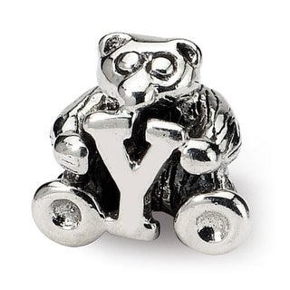 Sterling Silver Reflections Kids Letter Y Bead (3.5mm Diameter Hole)