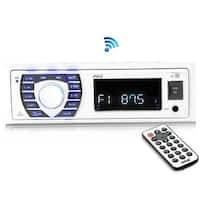 Bluetooth Marine Receiver Stereo, Hands-Free Calling, Wireless Streaming, MP3/USB/SD Readers, AM/FM Radio (White)