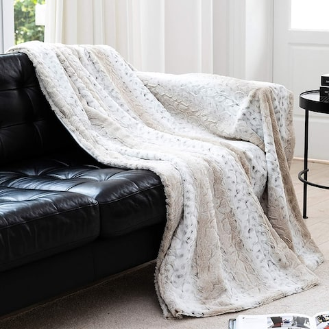 Cheer Collection Embossed Faux Fur Snow Leopard Throw Blanket