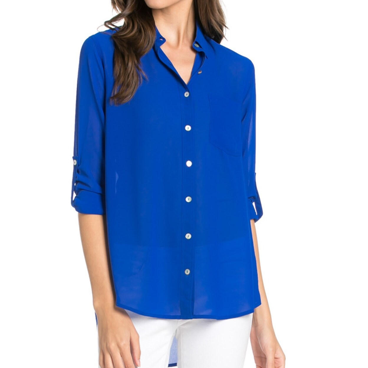 34e246438eb229 Shop Roll Up Sleeve Button Down Royal Blue Chiffon Blouse - On Sale - Free  Shipping On Orders Over $45 - Overstock - 23023530