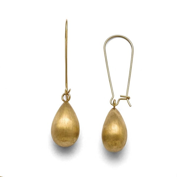 Chisel Stainless Steel Polished/Brushed Yellow IP-plated Earrings
