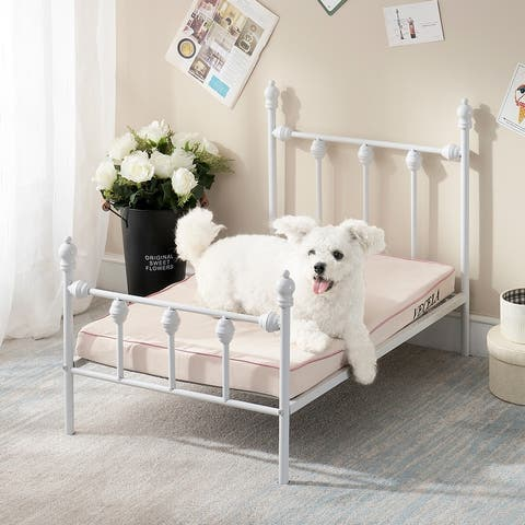 VECELO Raised Pet Bed Frame White and Black with Headboard & Footboard