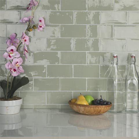 SomerTile 3x6-inch Gloucester Sage Ceramic Wall Tile