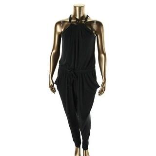 MICHAEL Michael Kors Womens Matte Jersey Pleated Jumpsuit - L