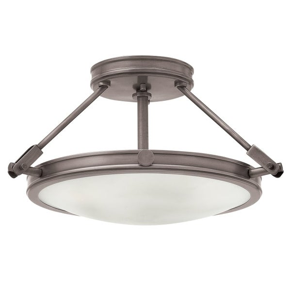 "Hinkley Lighting 3381 Collier 3 Light 16-1/2"" Wide Semi-Flush Bowl Ceiling Fixture with Etched Opal Glass Shade"
