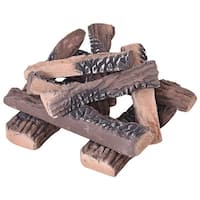 Costway 10PCS Ceramic Wood Logs Gas Fireplace Imitation Wood Propane Firepit Logs - as pic