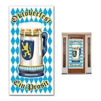 Club Pack of 12 Blue and White Oktoberfest Door Cover Party Decorations 5'