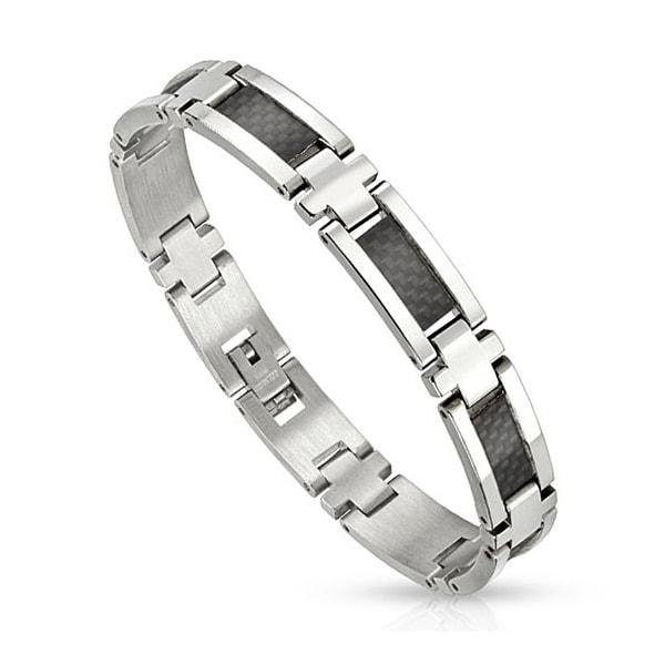 Black Carbon Fiber Strips in Center Stainless Steel Link Bracelet (10 mm) - 8.25 in
