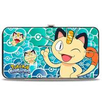Meowth Pose Expressions Stacked Pok Balls Blues Hinged Wallet - One Size Fits most