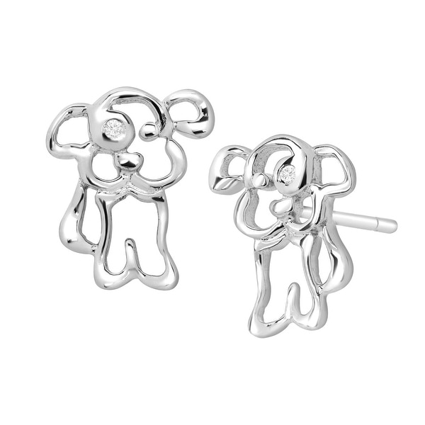 Girl's Puppy Dog Stud Earrings with Diamonds in Sterling Silver