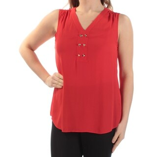 Womens Red Sleeveless Cowl Neck Wear To Work Top Size M