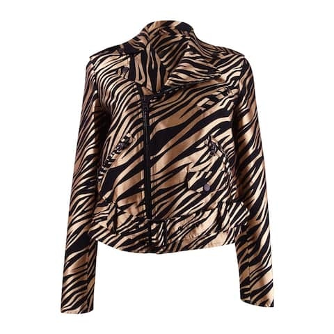 Anne Klein Women's Printed Jacquard Moto Jacket