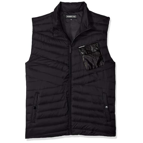 Members Only Mens Jacket Black Size Large L Vest Mock Neck Chest Pocket