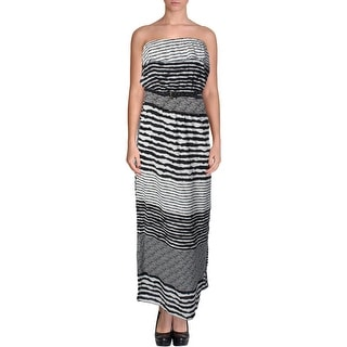 Trixxi Womens Juniors Ruffled Striped Maxi Dress