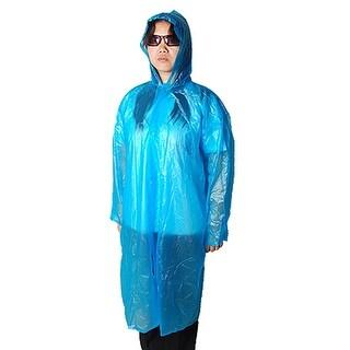 Adults Portable Blue Plastic Hooded Raincoat Poncho