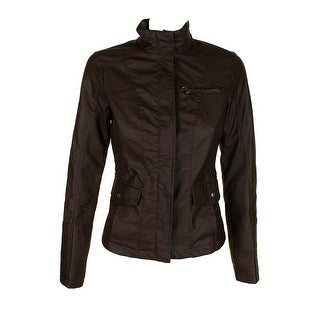 Celebrity Pink Chocolate Brown Silver Full Zip Faux-Leather Jacket S