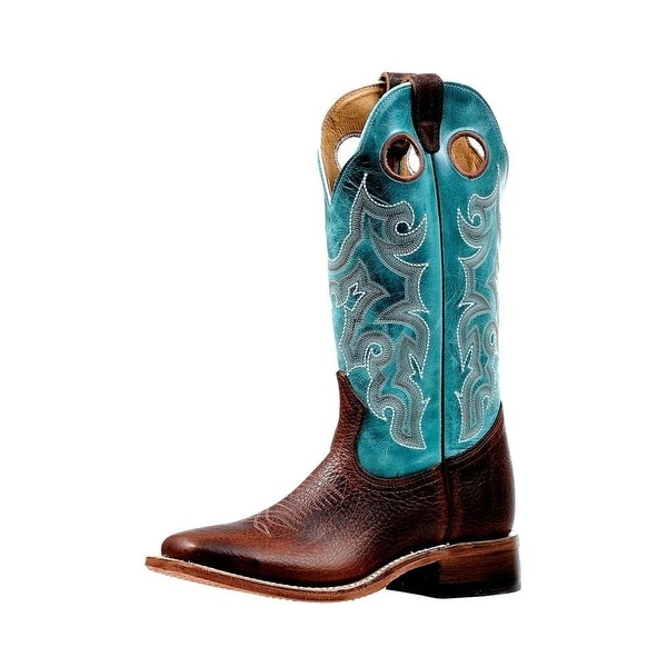 Boulet Western Boots Womens Stockman Pull Holes Bisonte Whiskey
