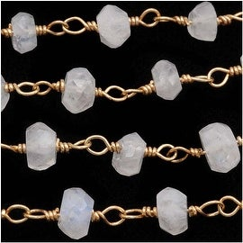 Moonstone Gem Gold Vermeil Wire Wrapped Chain 4mm Rondelles - By The Inch