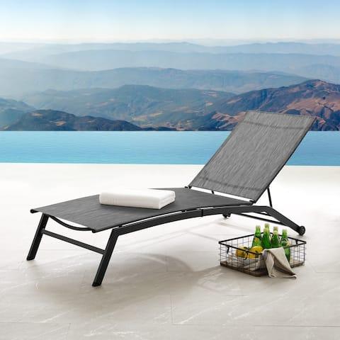 Corvus Antonio Outdoor Contemporary Sling-Fabric Adjustable Chaise Lounge