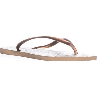 Havaianas Slim Animals Classic Flip Flops, Beige