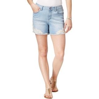 Earl Jean Womens Denim Shorts Frayed-Hem Lace-Applique