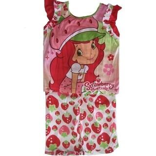Strawberry Shortcake Little Girls White Red Ruffled 2 Pc Pajama Set 6