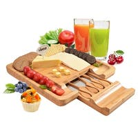 Fitnate® Bamboo Cheese Board Set, Cutting Surface & Hidden Drawer, Perfect Presentation Piece for Holiday Gatherings & M