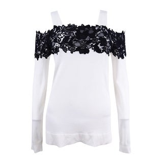 INC Women's Lace-Trim Cold-Shoulder Sweater - White